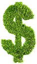 dollar sign made from grass graphic